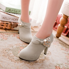 Ericdress Bowtie&rhinestone Decorated High Heel Boots