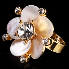 Ericdress Romantic Imitation Diamond Flower Ring