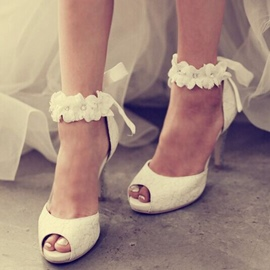Ericdress Lace Flower Peep Toe Wedding Shoes