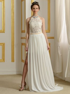 Ericdress Appliques Halter Backless Chiffon Wedding Dress
