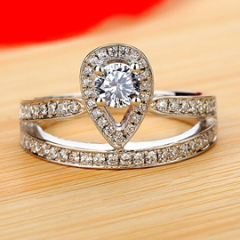 Crown Imitation Diamond Wedding Ring
