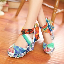 Ericdress Floral Print Wedge Sandals
