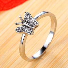 Ericdress Butterfly Imitation Diamond Ring