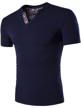 Ericdress Short Sleeve V-Neck Printed Men's T-Shirt