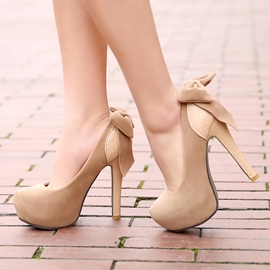 Ericdress Suede Patchwork Back Bowknot Pumps
