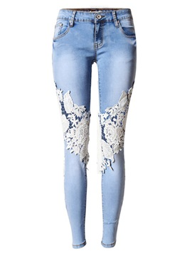 Ericdress Skinny Lace Patchwork Casual Jeans