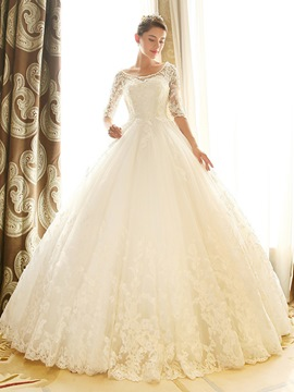 Ericdress Elegant Ball Gown Wedding Dress With Sleeves