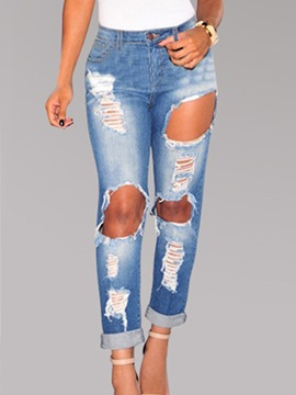 Ericdress Loose Hole Zipper Jeans