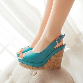Ericdress Bright Peep Toe Wedge Sandals