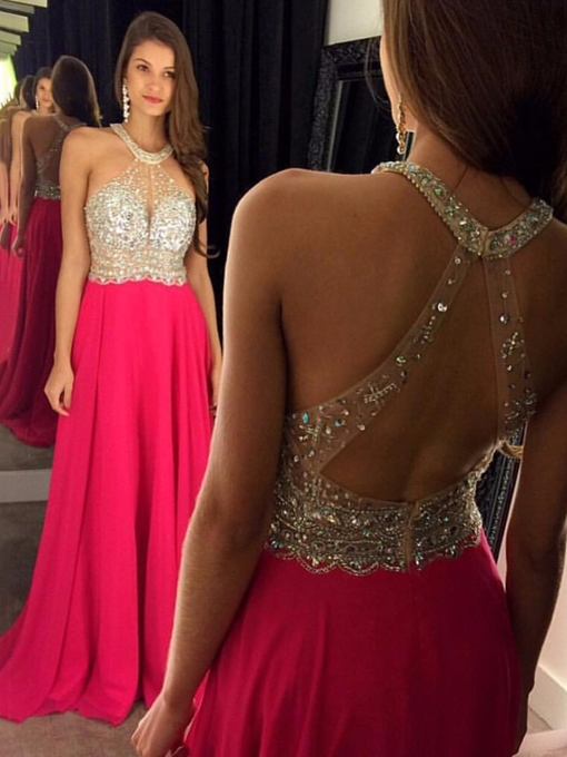 Ericdress Halter Backless Beading Prom Dress 2019