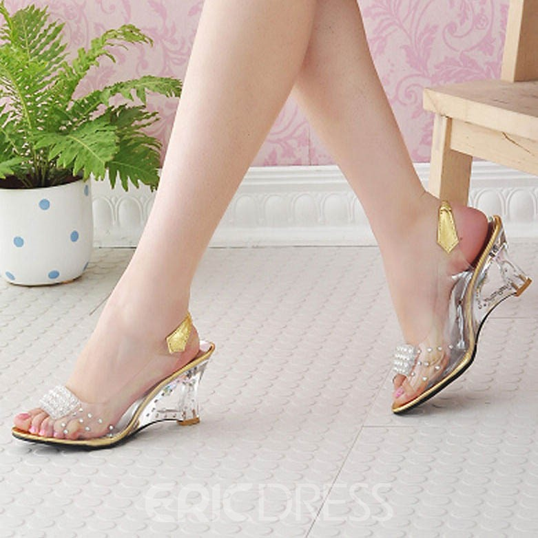 Ericdress Transparent Patchwork Slip-On PVC Wedge Sandals