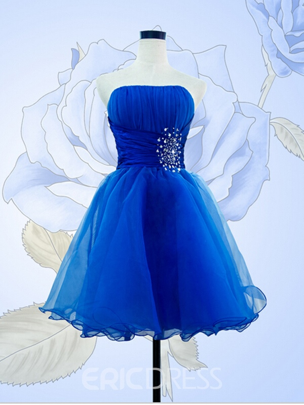 Ericdress Strapless Beading Pleats Short Prom Dress