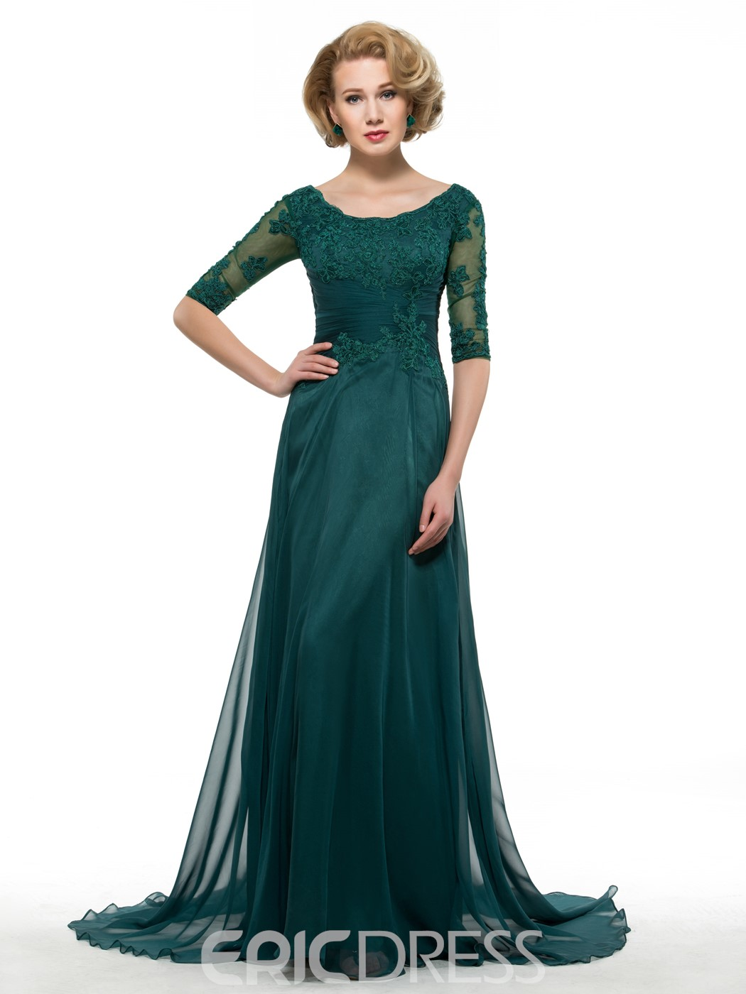 Ericdress Long A Line Half Sleeves Appliques Scoop Mother Of The Bride Dress