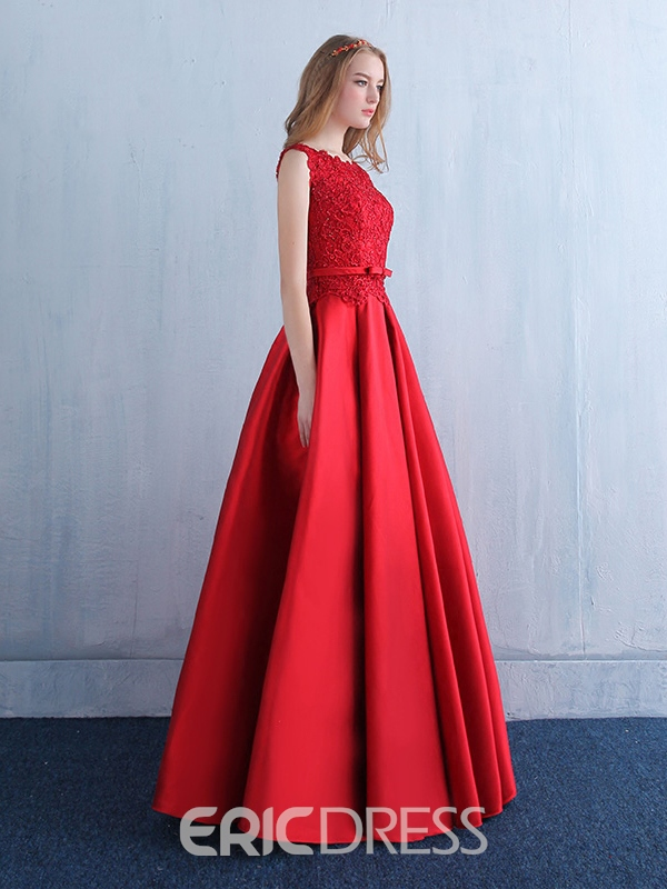 Ericdress Bateau Neck Beading Bowknot Lace Evening Dress