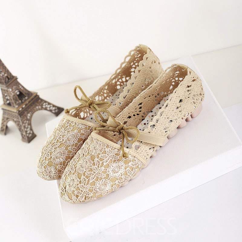 Ericdress Spring Mesh Lace Flat with Bowtie
