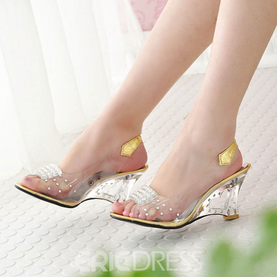 11f69c62d0d456 Ericdress Transparent Patchwork Slip-On PVC Wedge Sandals