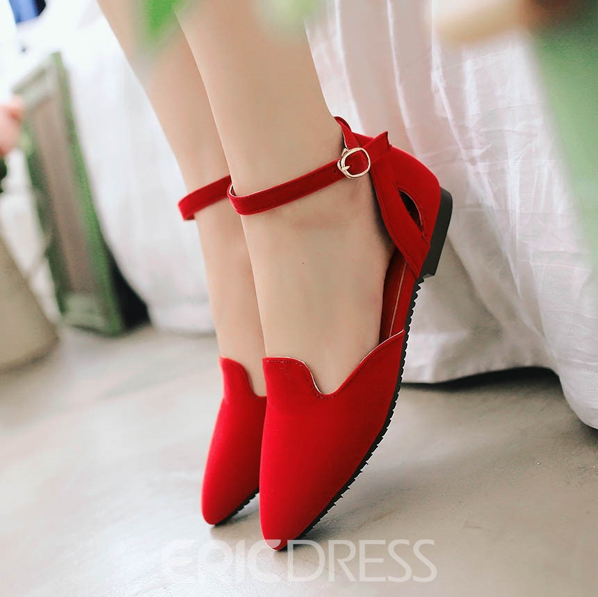 Ericdress Point Toe Ankle Strap Flats