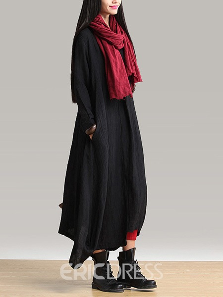 Ericdress Plain V-Neck Ethnic Maxi Dress