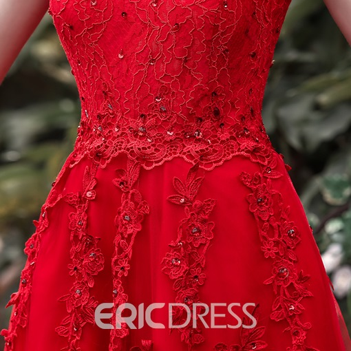 Ericdress Off-The-Shoulder Appliques Beaded Evening Dress