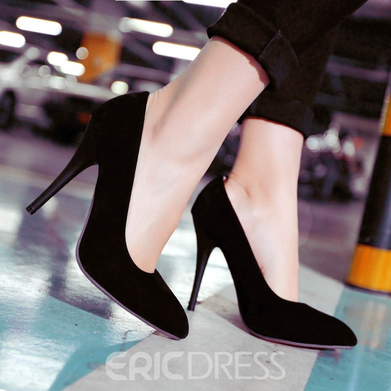 Ericdress Bright Suede Point Toe Pumps