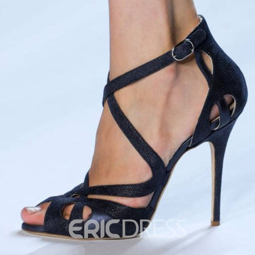 Ericdress Black Cross Strappy Peep Toe Stiletto Sandals