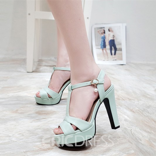 Ericdress T Strap Chunky Sandals