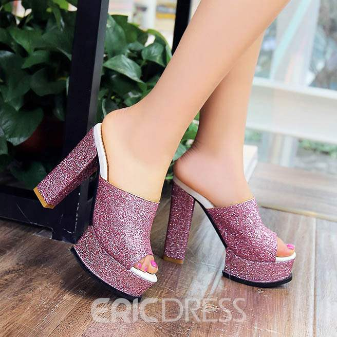 Ericdress Shining Sequins Chunky Heel Slippers