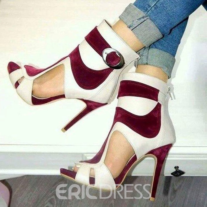Ericdress Color Block Peep Toe Stiletto Sandals