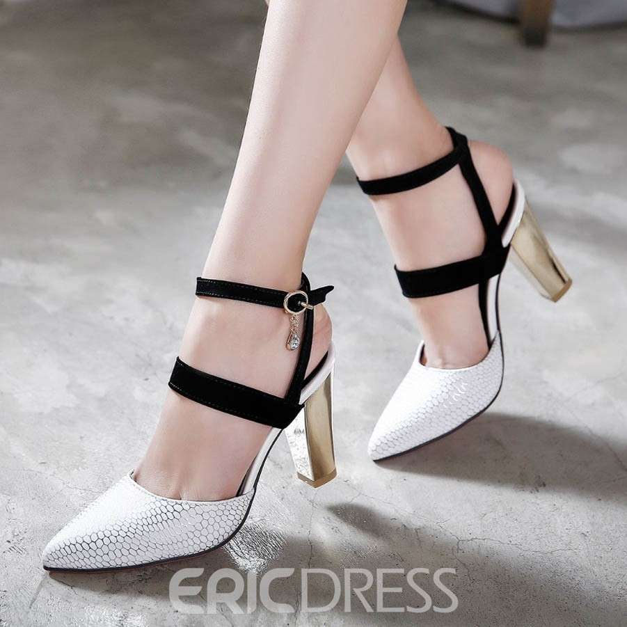 Ericdress Patchwork Point Toe Chunky Sandals