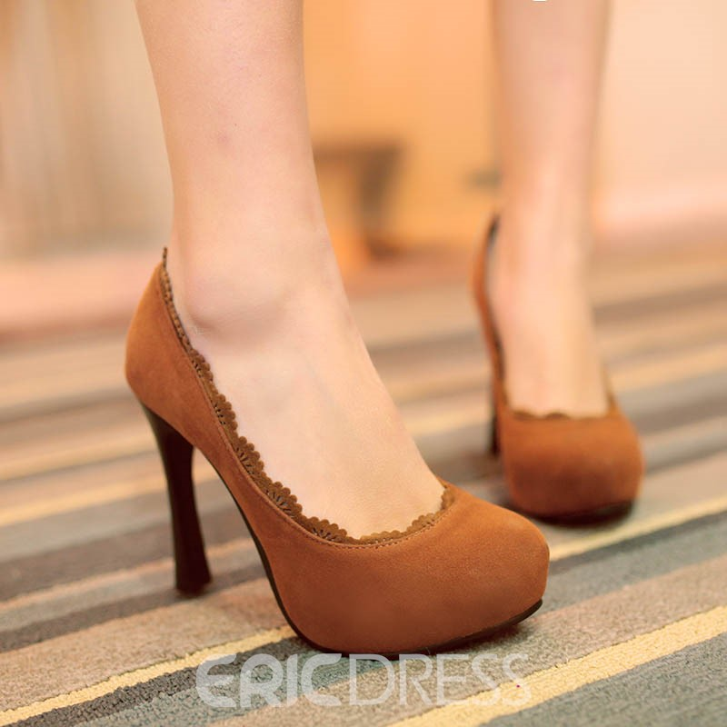 Ericdress Solid Color Suede Pumps