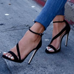 Ericdress Black Suede Stiletto Sandals фото