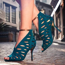 Ericdress Pearlecent Aqua Cage Stiletto Sandals