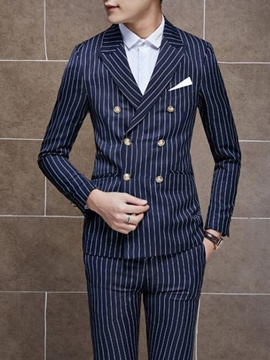 Ericdress Double-Breasted Stripe Slim Men's Suit
