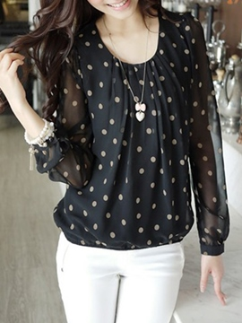 Ericdress Loose See-Through Polka Dots Blouse