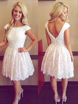 Ericdress Bateau Hals Sicke Lace Cocktail-Kleid