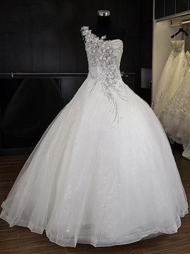 Ericdress Appliques Sleeveless Ball Gown One Shoulder Church Wedding Dress