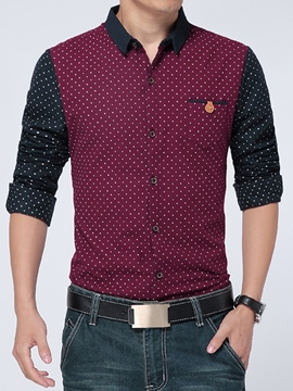 Ericdress Color Block Polka Dots Slim Men's Shirt