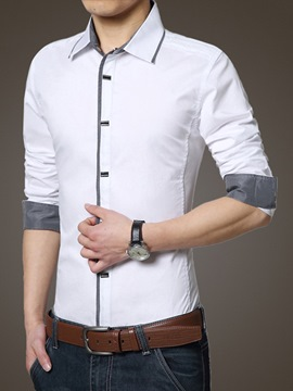 Ericdress Cotton Blends All Matched Slim Men's Shirt