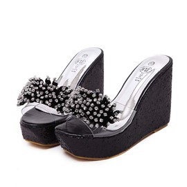 Ericdress Korean Sweet Rhinestone Wedge Slippers