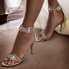 Ericdress Rhinestone Satin Line-Style Buckle Stiletto Sandals