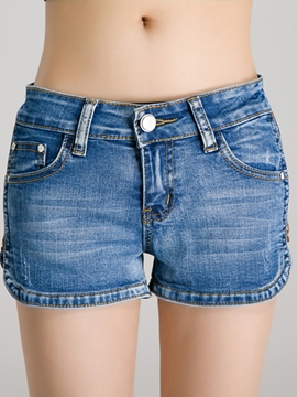 Ericdress Slim Denim Shorts