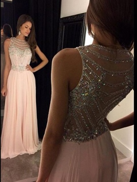 Ericdress Straps Beaded Sheer Back Prom Dress 2019