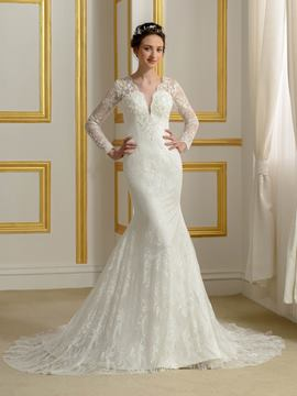Ericdress High Quality Long Sleeves Lace Mermaid Wedding Dress