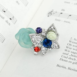 Ericdress Special Orchid Butterfly Rhinestone Ring