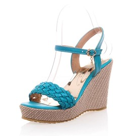 Ericdress Bright Knitting Ankle Strap Wedge Sandals