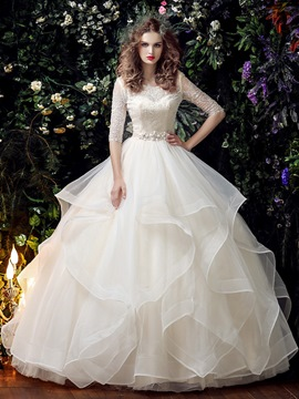 Ericdress Half Sleeves Beading Ball Gown Scoop Garden/Outdoor Wedding Dress