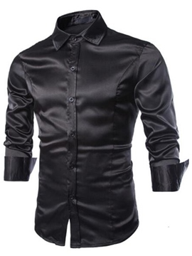 Ericdress Solid Color Smooth Surface Vogue Men's Shirt