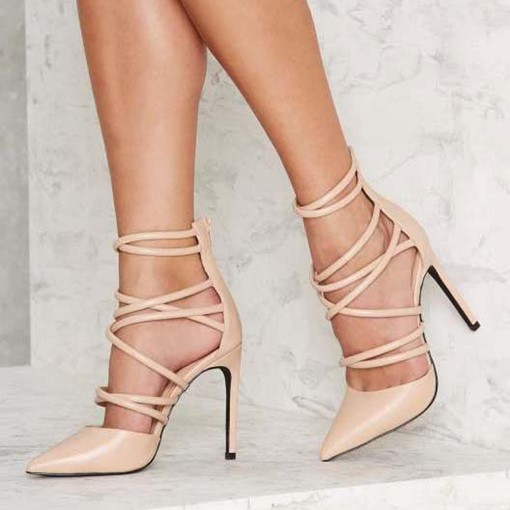 Ericdress Nude Point Toe Stiletto Sandals