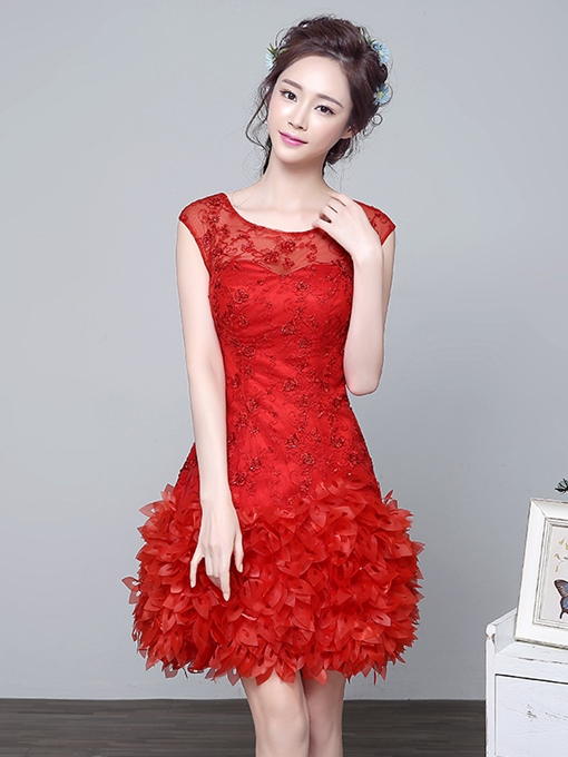 Ericdress Scoop Neck Cap Sleeves Lace Beading Cocktail Dress