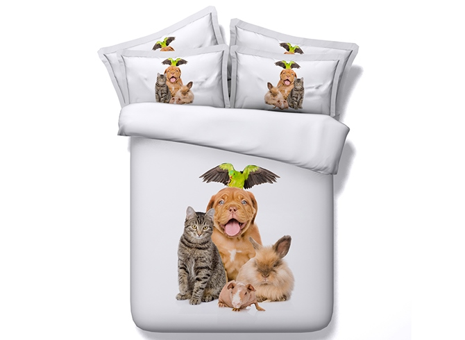 Cat and Dog Printed Cotton 4-Piece 3D White Bedding Sets/Duvet Covers